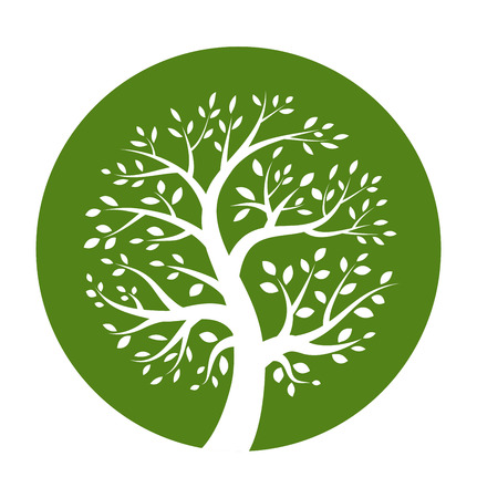 White tree icon in green round  Иллюстрация