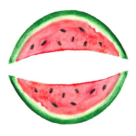 Watercolor Watermelon Slice, vector illustration Vector