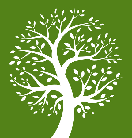 White Tree icon on green background, vector illustration  Illustration