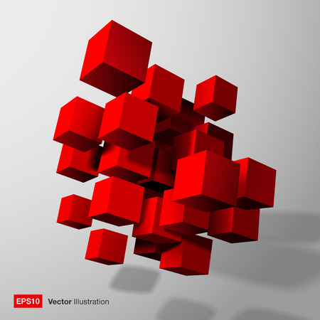 Abstract composition of red 3d cubes  Vector illustration  Illustration
