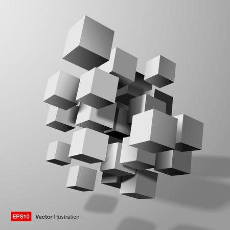construction management: Composizione astratta di bianco 3d cubi illustrazione vettoriale Vettoriali