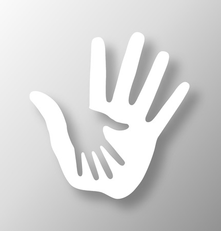 human hand: Caring hand applique, vector illustration