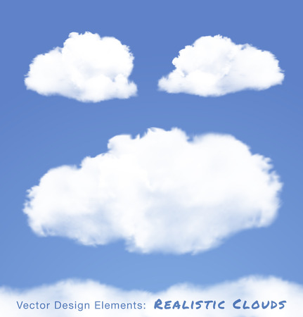 Realistic Clouds on blue sky  Vector illustration  Çizim