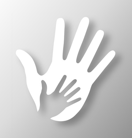 helping hand: Caring hand applique, vector illustration