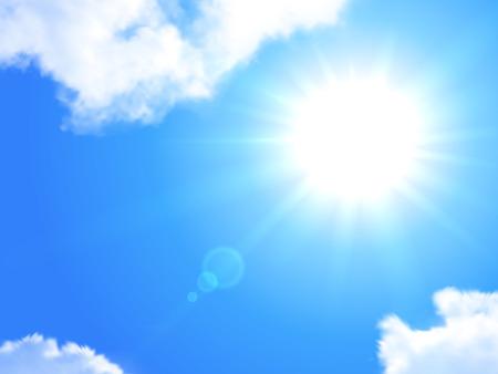 sol radiante: Sol y cielo realista de fondo Ilustración vectorial