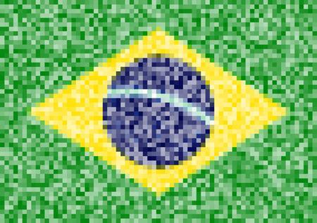 Pixel Flag of Brazil Vector