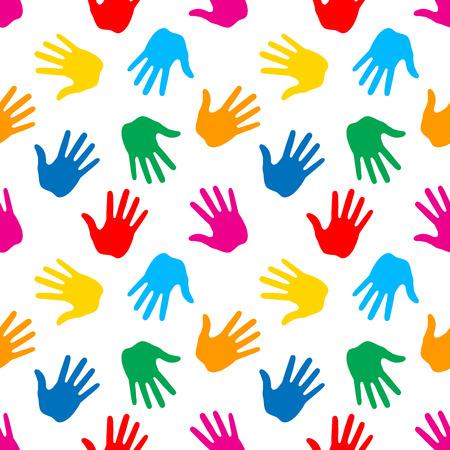 human figures: Seamless Pattern. Print of Hands. Vector Illustration  Illustration