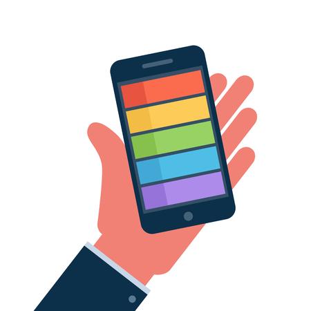 Smartphone on hand flat icon, vector illustration  Vector