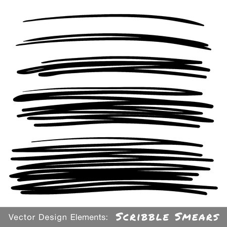 Set of Hand Drawn Scribble Smears, vector design elements  Vector