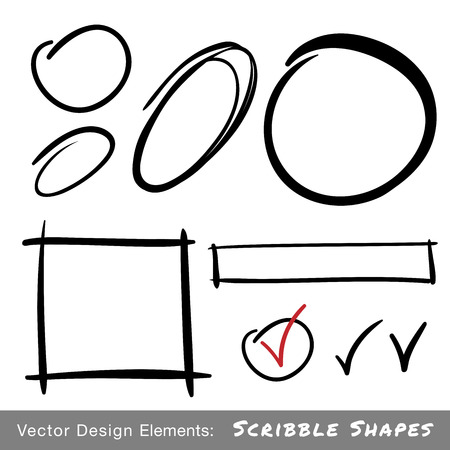 Set of Hand Drawn Scribble Shapes, vector design elements  Vector