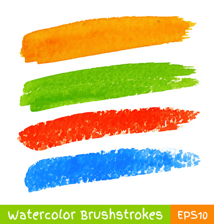 Set of Colorful Watercolor Brush Strokes, vector illustration