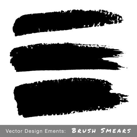 smears: Set of Hand Drawn Grunge Brush Smears, vector illustration