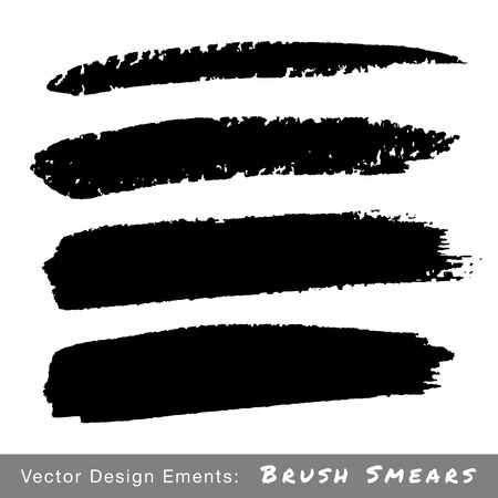 Set of Hand Drawn Grunge Brush Smears, vector illustration  Vector