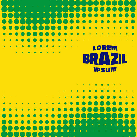 Abstract Bright Halftone Background using Brazil flag colors, vector illustration Vector