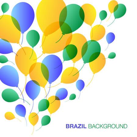 Balloons Background using Brazil flag colors, vector illustration Vector