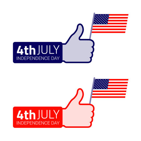 Thumb up hold american flag icon  American Independence day design  Vector illustration Vector