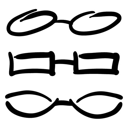 Hand Drawn Glasses and Sunglasses silhouettes