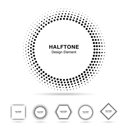 Set of Black Abstract Halftone Shapes Vector