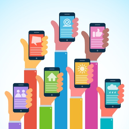 Hands with modern smartphones - flat design Vector