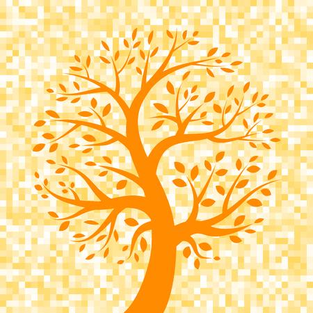 orange tree: Orange Tree icon on Pixel Background