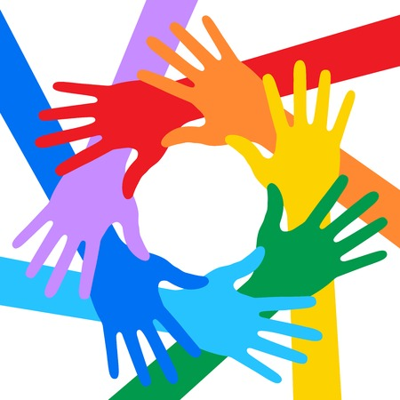rainbow print: Rainbow Colors Hands Icon Illustration