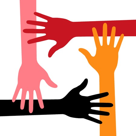 four hands: Colorful Four Hands Icon Illustration