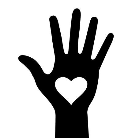 manos: Mano con el icono del coraz�n Vectores