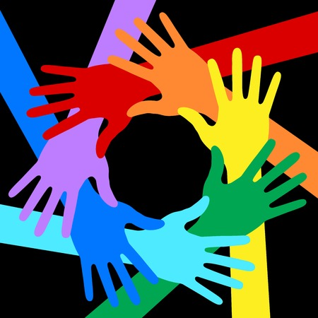 multi colors: Rainbow Colors Hands Icon on black background Illustration