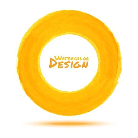 手描き水彩黄色い円