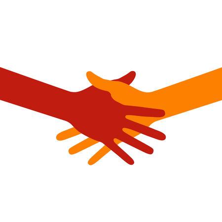 education help: Colorful icon hand shake Illustration