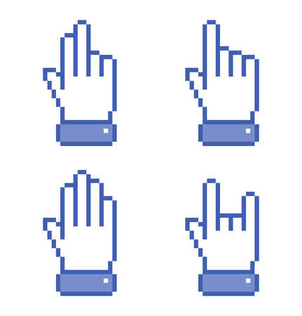 www arm: Set of blue Pixel Hand icons