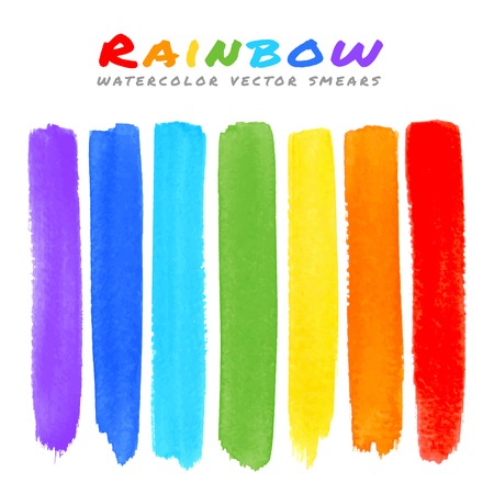 Rainbow Watercolor Brush Smears