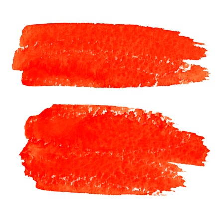 Set of Red Watercolor Brush Strokes,