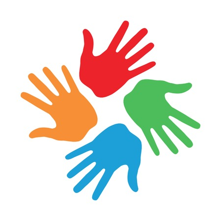diverse hands: Hand Print icon 4 colors Illustration