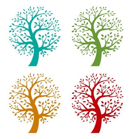 arbol raices: Conjunto de iconos de árboles estación colorida Vectores