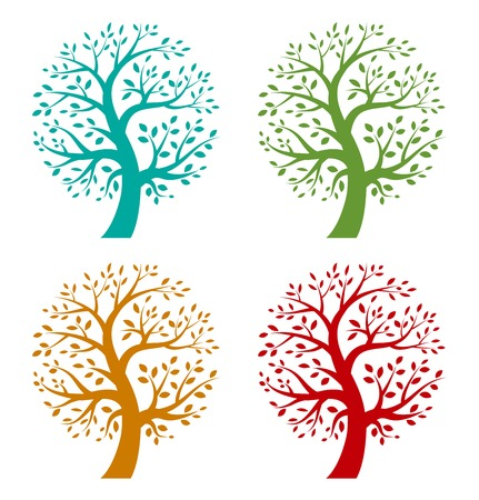 Set of Colorful Season Tree icons Çizim
