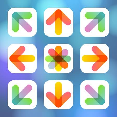 designator: Colorful Arrow Icon Flat Menu