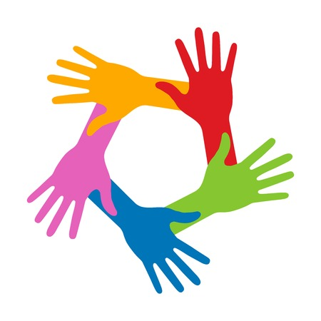 charity person: Colorful Five Hands Icon