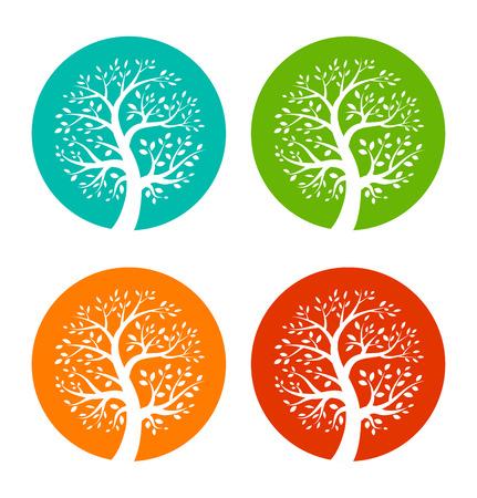 Conjunto de iconos de árboles estación colorida Vectores