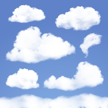 Set of Realistic Clouds on blue sky  Vector