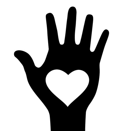 fleshy: Thick hand with heart icon Illustration