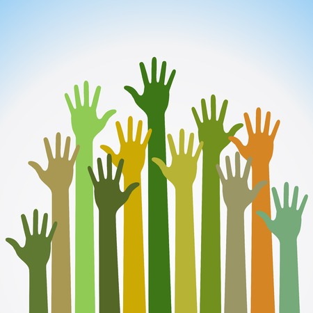 charity person: colorful up hands Illustration