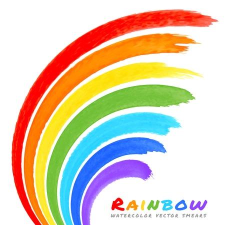Regenbogen Aquarell-Pinsel Abstriche Standard-Bild - 30740379