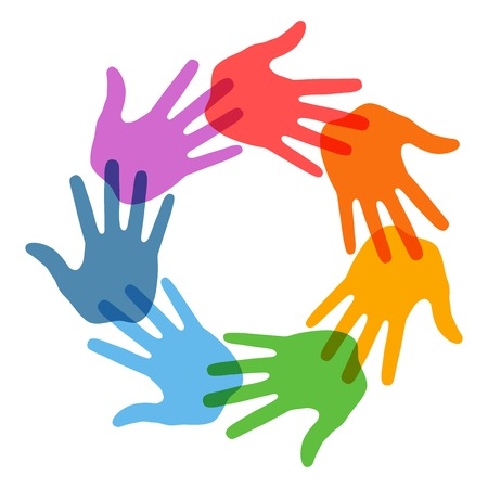 Mano derecha del icono de impresión 7 colores Ilustración de vector