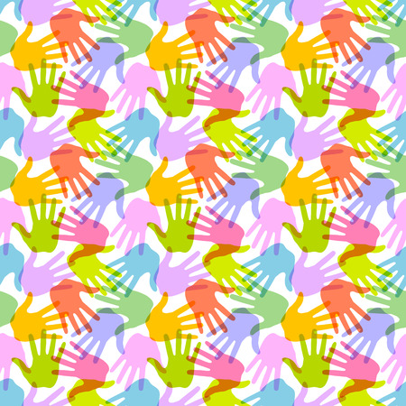 banner of peace: Seamless Pattern  Print of Hands  Illustration