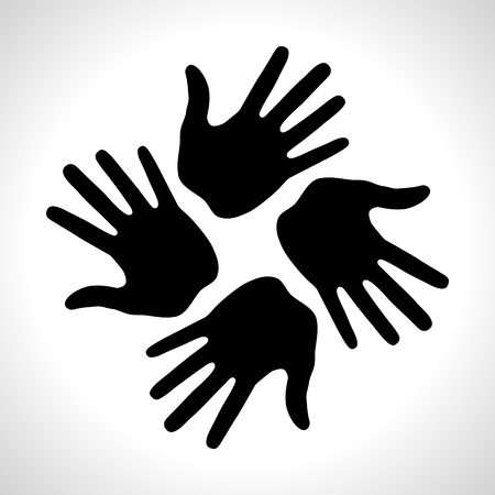 Black Hand Print icon Illustration