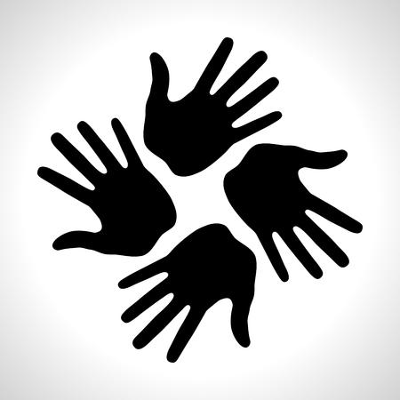 Black Hand Print icon Vectores