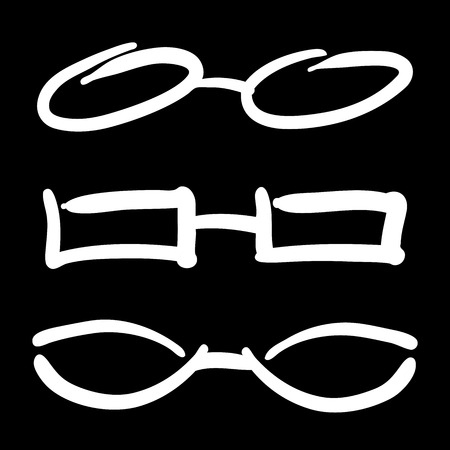 looking through an object: Hand Drawn Glasses and Sunglasses sketch  Illustration