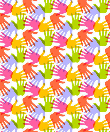 Seamless Pattern. Print of Hands. Vector