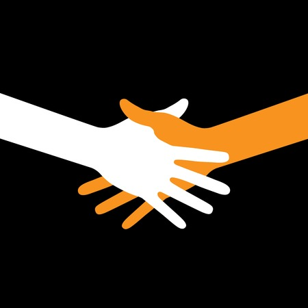 voting hands: Colorful icon hand shake on black background